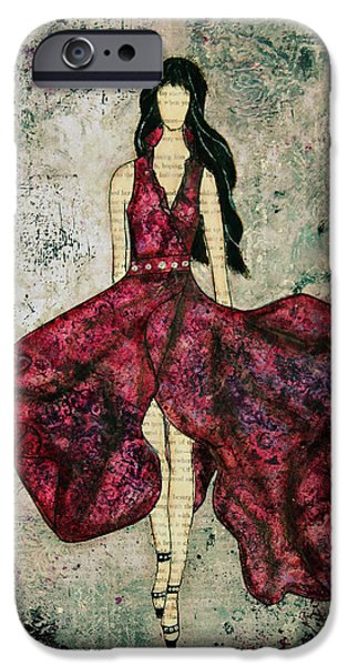 Dress iPhone Cases - Fashionista Mixed Media painting by Janelle Nichol iPhone Case by Janelle Nichol