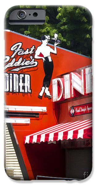 Fifties iPhone Cases - Fast Eddies Diner Art Deco Fifties iPhone Case by Edward Fielding