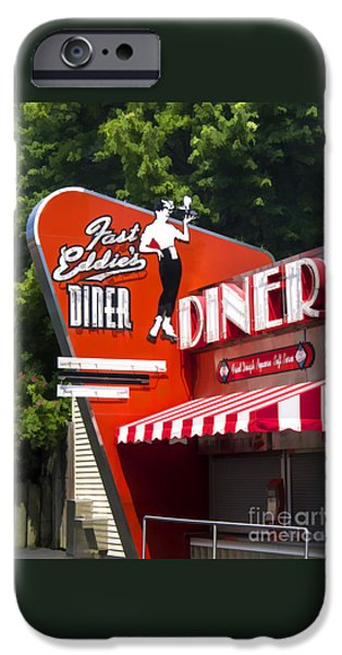 Ma iPhone Cases - Fast Eddies Diner Art Deco Fifties iPhone Case by Edward Fielding