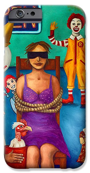 Ronald iPhone Cases - Fast Food Nightmare 3 edit 2 iPhone Case by Leah Saulnier The Painting Maniac