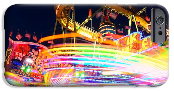 Oktoberfest iPhone Cases - Fast Ride at the Octoberfest in Munich iPhone Case by Sabine Jacobs