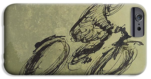 Earth Tones Drawings iPhone Cases - Faster Faster iPhone Case by John Malone