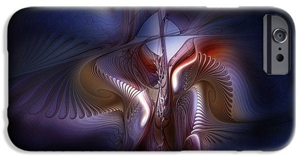 Poetic iPhone Cases - Fateful Nights Fractal Composition iPhone Case by Karin Kuhlmann