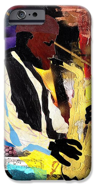 Jacob Lawrence iPhone Cases - Fathead Newman iPhone Case by Everett Spruill
