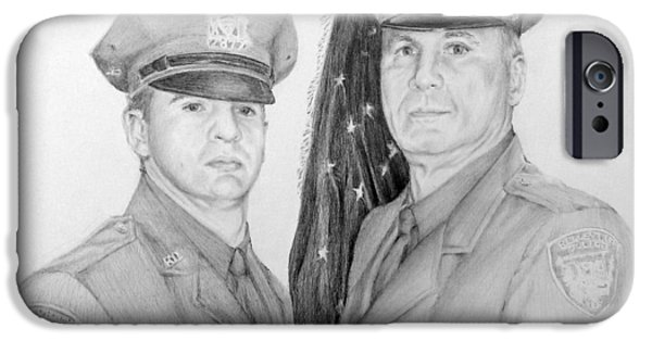 Law Enforcement Drawings iPhone Cases - Father And Son iPhone Case by Lori Ippolito