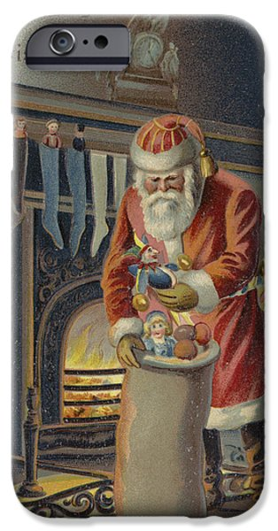 Father Christmas iPhone Cases - Father Christmas Filling Childrens Stockings iPhone Case by English School