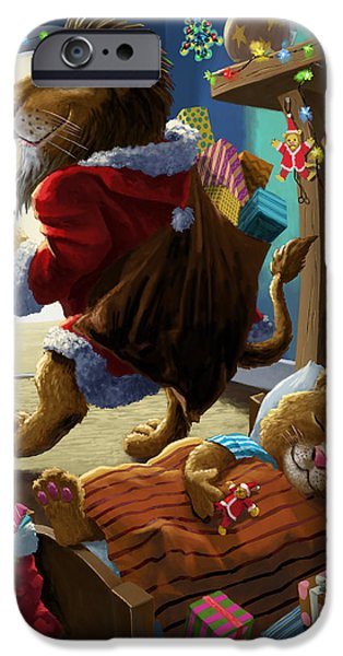 Christmas Eve iPhone Cases - Father Christmas lion delivering presents iPhone Case by Martin Davey