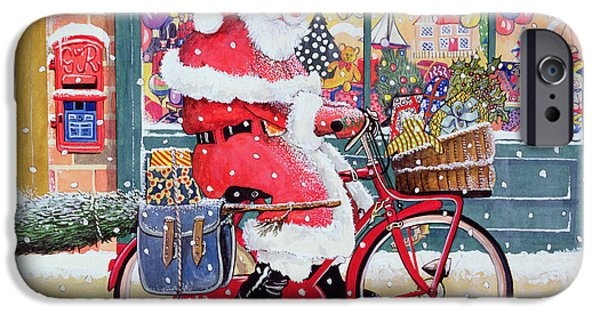 Santa iPhone Cases - Father Christmas On A Bicycle Wc iPhone Case by Tony Todd