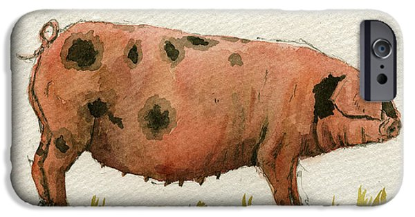 Piglets iPhone Cases - Faty sow iPhone Case by Juan  Bosco