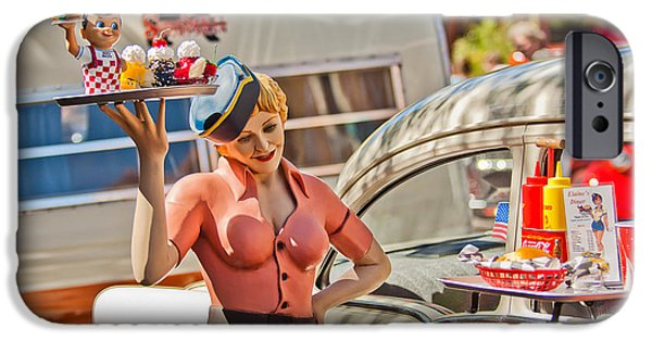 Fifties iPhone Cases - Faux 50s Drive-In iPhone Case by Jill Reger