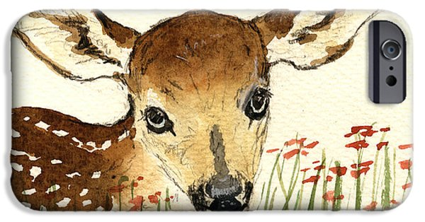 Nature Study Paintings iPhone Cases - Fawn in the flowers iPhone Case by Juan  Bosco