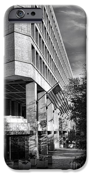 Police iPhone Cases - FBI Building Modern Fortress iPhone Case by Olivier Le Queinec