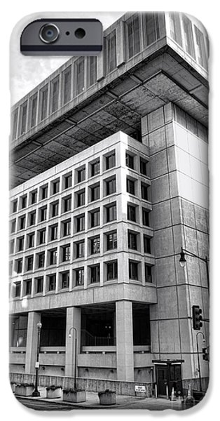 Brutalism iPhone Cases - FBI Building Rear View iPhone Case by Olivier Le Queinec