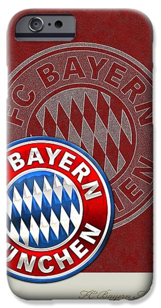 Bayern iPhone Cases - FC Bayern Munich Logo and 3D Badge iPhone Case by Serge Averbukh
