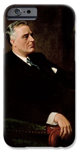 White House Paintings iPhone Cases - FDR Official Portrait  iPhone Case by War Is Hell Store