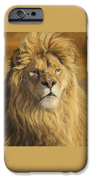 Lion iPhone Cases - Fearless - Detail iPhone Case by Lucie Bilodeau