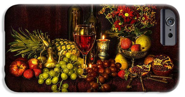 Table Wine iPhone Cases - Feast of Food iPhone Case by Svetlana Sewell