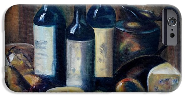 Italian Wine Paintings iPhone Cases - Feast Still Life iPhone Case by Donna Tuten