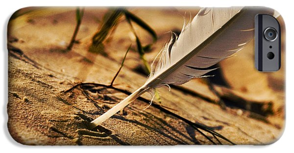 Coast Pyrography iPhone Cases - Feather And Sand iPhone Case by Raimond Klavins