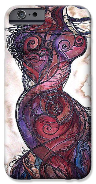 Fertility Paintings iPhone Cases - Feather Flow iPhone Case by Christy  Freeman