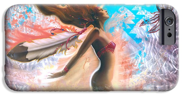 Floating Girl Paintings iPhone Cases - Feather Girl 1 iPhone Case by Luis  Navarro