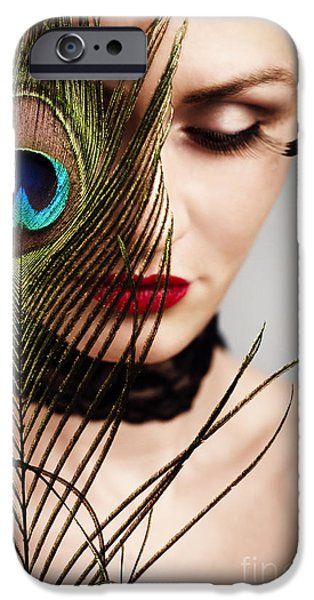 People Pyrography iPhone Cases - Feather iPhone Case by Jelena Jovanovic