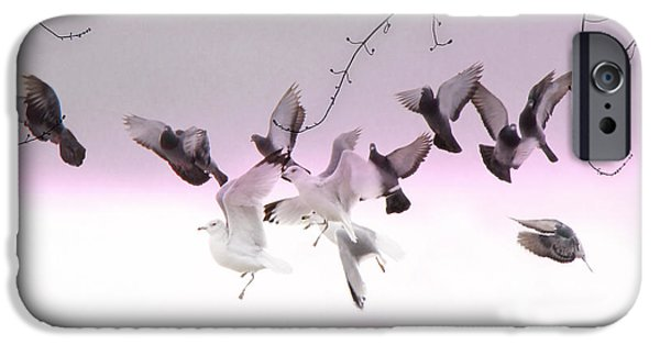 Flying Seagull iPhone Cases - Feather Light iPhone Case by Gothicolors Donna Snyder