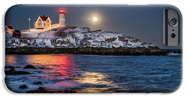 Nubble Lighthouse iPhone Cases - February Full Moon iPhone Case by Scott Thorp