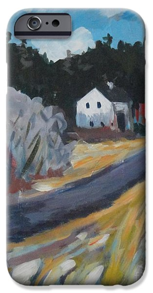 Maine Roads Paintings iPhone Cases - February iPhone Case by Laura Webb