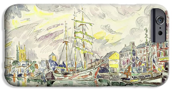 Harbor Drawings iPhone Cases - Fecamp iPhone Case by Paul Signac