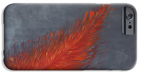 Fed Paintings iPhone Cases - Federrot iPhone Case by Bonita Stohl