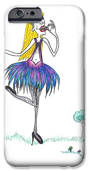 Alice In Wonderland Drawings iPhone Cases - Feed your head Alice iPhone Case by Tammy Jo French