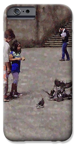 Feeding Pigeons in Santiago de Compostela iPhone Case by Mary Machare