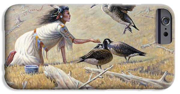 Caring Mother iPhone Cases - Feeding the Canadian Geese iPhone Case by Gregory Perillo