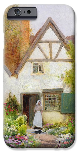 Farm Stand iPhone Cases - Feeding the Cat iPhone Case by Arthur Claude Strachan