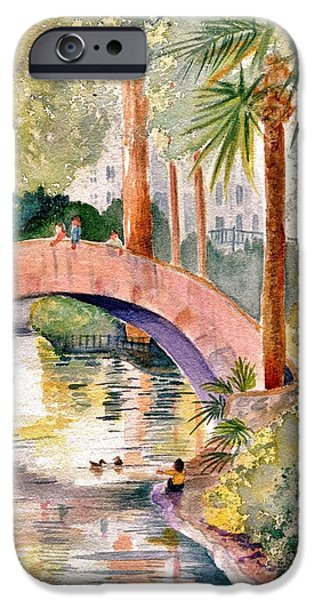 Marilyn Smith Paintings iPhone Cases - Feeding The Ducks iPhone Case by Marilyn Smith