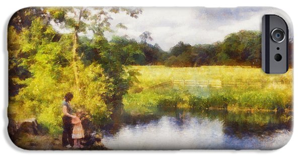 Victorian Drawings iPhone Cases - Feeding the ducks iPhone Case by Pixel Chimp