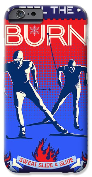 Skiing Posters Paintings iPhone Cases - Feel the Burn XSki iPhone Case by Sassan Filsoof