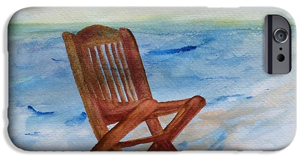 Empty Chairs Paintings iPhone Cases - Feeling Empty iPhone Case by Jolanta Benson