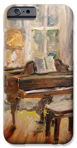 Grand Piano Paintings iPhone Cases - Feeling Grand iPhone Case by Susan E Jones