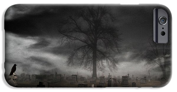 Monochrome Digital iPhone Cases - Feels Like Halloween iPhone Case by Gothicolors Donna Snyder
