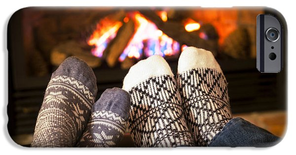 Togetherness iPhone Cases - Feet warming by fireplace iPhone Case by Elena Elisseeva
