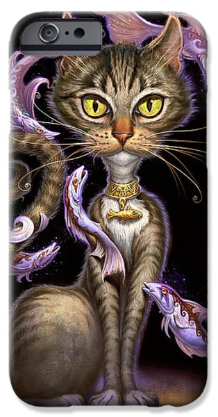 Decor iPhone Cases - Feline Fantasy iPhone Case by Jeff Haynie