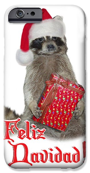 Raccoon Digital Art iPhone Cases - Feliz Navidad - Raccoon iPhone Case by Gravityx Designs