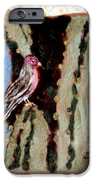 Plant Tapestries - Textiles iPhone Cases - Felted Finch iPhone Case by Selma Glunn