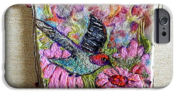 Needle Tapestries - Textiles iPhone Cases - Felted Hummingbird iPhone Case by Selma Glunn