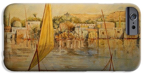 Original Watercolor iPhone Cases - Feluccas at Aswan Egypt. iPhone Case by Juan  Bosco
