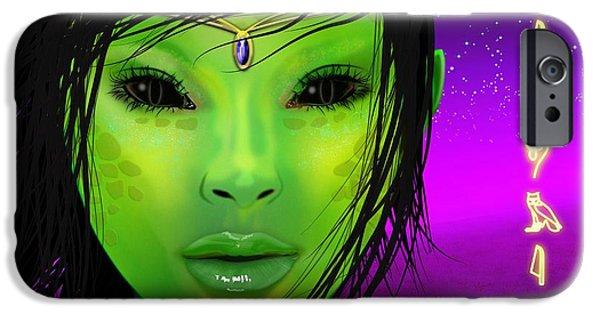 Science Fiction Digital Art iPhone Cases - Female alien iPhone Case by John Wills