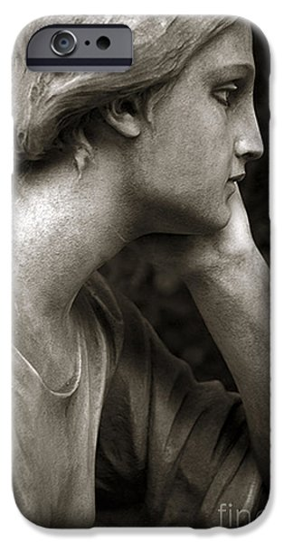 Female Angel Face Closeup - Female Angelic Face Portrait iPhone Case by Kathy Fornal