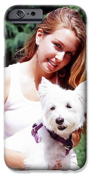 Bonding iPhone Cases - Female beauty and dog. iPhone Case by Oscar Williams